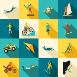 Extreme Sports Flat Icons Set Stock Images