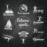 Extreme sports icon chalkboard Royalty Free Stock Photography