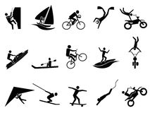 Extreme sports icon set. Isolated black extreme sports icon set on white background Royalty Free Stock Photography