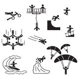 Extreme sports icon set. People performing extreme sports icons. Vector. Eps10 Stock Images