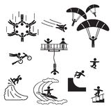 Extreme sports icon set. People performing extreme sports icons. Vector. Eps10 Stock Photo