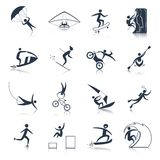 Extreme Sports Icons Black. Set of outdoor adventure activity isolated vector illustration Stock Photography