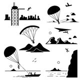 Extreme Sports Icons Cliparts Set 2. A set of human pictogram representing the extreme sports of base jumping, parachuting, paragliding, hang gliding Stock Photo