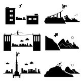 Extreme Sports Icons Cliparts Set 1. A set of human pictogram representing the extreme sports of parkour, biking, walking wire, wingsuit, building climber, and Royalty Free Stock Photography