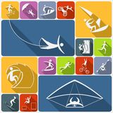 Extreme sports icons flat Stock Images