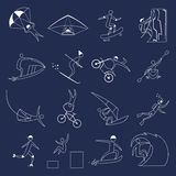 Extreme sports icons outline Stock Images