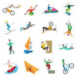 Extreme Sports Icons. Set with people kiting cycling sailing skiing isolated vector illustration Royalty Free Stock Photography