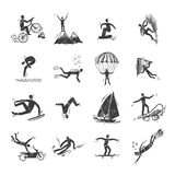 Extreme Sports Icons Sketch. Of diving climbing sailing isolated doodle vector illustration Stock Image