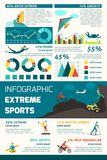 Extreme Sports Infographics. Set with adrenaline adventure symbols and charts vector illustration Stock Photo