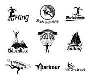 Extreme sports label sketch Royalty Free Stock Photo