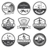 Extreme sports labels set. Vacation travel extreme sports labels set of rafting cross country climbing and snowboard vector illustration Stock Image