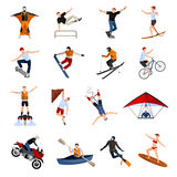 Extreme Sports People Flat Icons. Flat design icons set with people doing various kinds of extreme sports isolated on white background vector illustration Stock Image