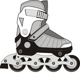 Extreme sports roller skates. Isolated vector illustration on white background Stock Photos