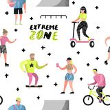 Extreme Sports Seamless Pattern with Cartoons. Teenager Skateboarding, Man on Bicycle, Girl Rolling. Active People stock illustration