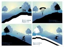 Extreme sports set 2. Extreme sports , hiking parachuting skiing mountain biking Royalty Free Stock Photography