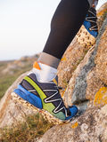 Extreme sports shoes for trail running practice Royalty Free Stock Photos