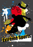 Extreme sports skateboarder and bicycle with spray graphic Stock Photography