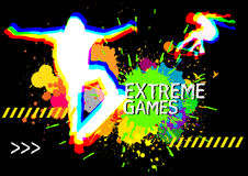 Extreme sports skateboarder show on splatter color background. Vector Royalty Free Stock Photos