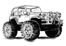 Extreme Sports - 4x4 Sports Utility Vehicle SUV Vector Illustrat. Extreme Sports - 4x4 Sports Utility Vehicle Off Road Vector Illustration Stock Illustration