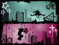Extreme sports vector. Urban extreme sports vector over colors background stock illustration