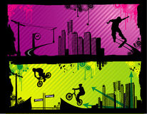 Extreme sports vector. Urban extreme sports vector over colors background vector illustration