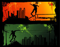 Extreme sports vector. Urban extreme sports vector over colors background Stock Photo