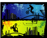 Extreme sports vector. Urban extreme sports vector over colors background Royalty Free Stock Photos