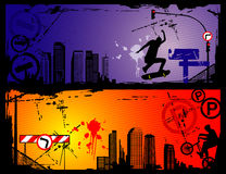 Extreme sports vector. Urban extreme sports vector over colors background Stock Photos