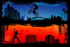 Extreme sports vector. Urban extreme sports vector over colors background Royalty Free Stock Photo