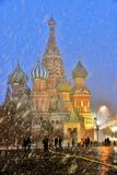 Extreme snowfall on the Red Square in Moscow. Extreme springtime snowfall on the Red Square in Moscow. Date: March 12, 2019 stock images