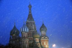 Extreme snowfall on the Red Square in Moscow. stock photos
