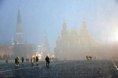 Extreme snowfall on the Red Square in Moscow. royalty free stock image