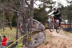 Extreme sprong op een fiets in bos Royalty-vrije Stock Foto's