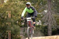 Extreme sprong op een fiets in bos Royalty-vrije Stock Afbeeldingen