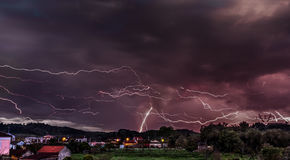 Extreme storm and lighning over the mountains.  Stock Images