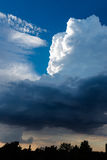 Extreme, stormy weather in germany. Clouds with blue sky in location by a extreme, stormy weather in germany Stock Photos