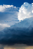 Extreme, stormy weather in germany. Clouds with blue sky in location by a extreme, stormy weather in germany Stock Images