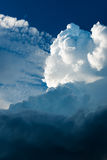 Extreme, stormy weather in germany. Clouds with blue sky in location by a extreme, stormy weather in germany Stock Photography