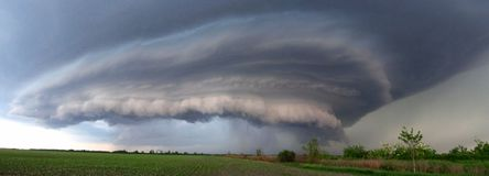 Extreme supercell thunderstorm, school example of supercell. Super cell in Serbia royalty free stock photography