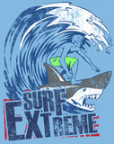 Extreme surfer. Graphic of man surfing on back of shark in wave over text of surf extreme on blue background Royalty Free Stock Images