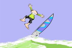 Extreme Surfer man on surfboard riding the wave Stock Photo