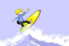 Extreme Surfer man on surfboard riding the wave Royalty Free Stock Photos