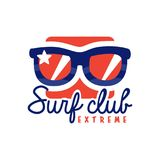 Extreme surfing club logo, windsurfing retro badge with sunglasses vector Illustration. Isolated on a white background Royalty Free Stock Images