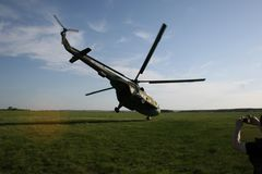 Extreme takeoff helicopter stock photos