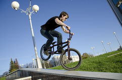 Extreme Trials. Flight with a sports bike in the sky stock image