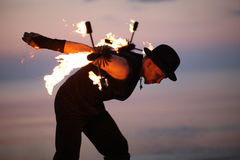 Extreme tricks with fire Royalty Free Stock Photography
