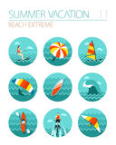 Extreme Water Sport icon set. Summer. Vacation Royalty Free Stock Images