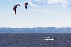 Kiteboarding at the gulf of finland. Extreme water sport - kiteboarding at the gulf of finland at summer sunny day Royalty Free Stock Images