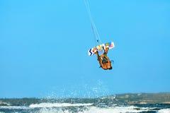 Extreme Water Sport. Kiteboarding, Kitesurfing Air Action. Recreational Sports. Summer. Extreme Water Sport. Kiteboarding, Kitesurfing Action. Professional Kiter royalty free stock images