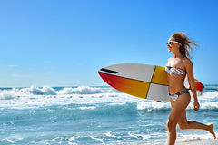 Extreme Water Sport. Surfing. Girl With Surfboard Beach Running. Royalty Free Stock Photography